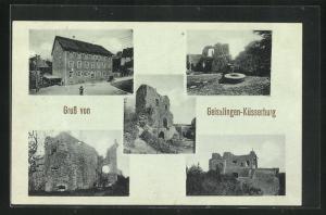 AK Geisslingen-Küssaberg, Ansicht vom Gasthaus, Ruine der Küsserburg