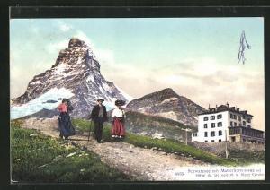 AK Schwarzsee, Partie mit Matterhorn, Hotel du lac noir et le Mont Cervin