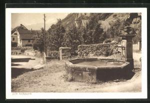 AK Sargans, Ortspartie mit Brunnen
