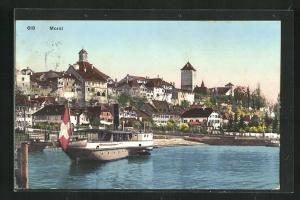 AK Morat, Dampfer kommt im Hafen