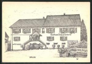 AK Hallau, Gasthaus und Metzgerei Schweizerbund