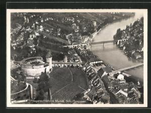 AK Schaffhausen, Fliegeraufnahme mit Burg Munot