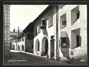 AK Pontresina, Häuserzeile in der Dorfstrasse