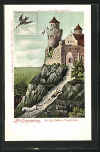 Künstler-AK Alt-Toggenburg, St. Idda Gräfin v. Toggenburg, Fall vom Turm