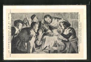 AK La Odontologia en el Arte, Sacamuelas del Siglo XVII, Dentista extrayendo un diente a un campesino, Zahnarzt