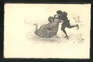AK Mann auf Schlittschuhen schiebt Frau auf einem Schlitten