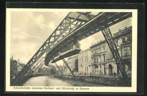 AK Barmen, Schwebebahn zwischen Berliner- und Uferstrasse