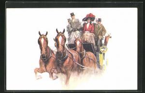 AK London, International Horse Show, Olympia 1912, Dame und Herren auf einer Kutsche, Pferdesport