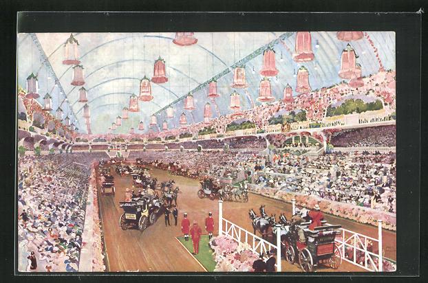 AK London, International Horse Show, Olympia, 1912, Kutschen präsentieren sich den Zuschauern 0