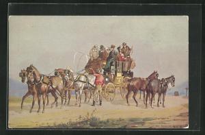 AK London, International Horse Show, Olympia, 1912, Kutsche erhält frische Pferde