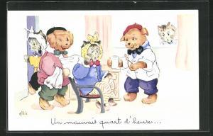 Künstler-AK Zahnarzt, Katzen beim Hundezahnarzt, Un mauvais quant d`heure
