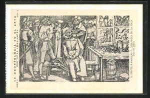 AK Zahnarzt, Frau wird am Zahn behandelt, Dentistas ambulantes, operando en la Plaza, 1531