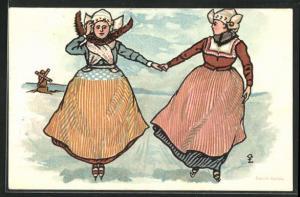 Künstler-AK holländische Frauen in Trachten laufen Schlittschuh, Windmühle