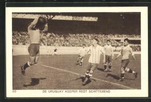AK Amsterdam, Olympiade 1928, Fussballspiel, De Uruguay Keeper redt Schitterend