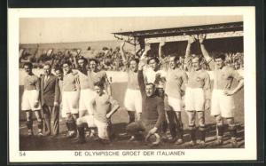 AK Amsterdam, Olympiade 1928, Fussballspiel, de olympische Groet der Italianen, italienische Mannschaft