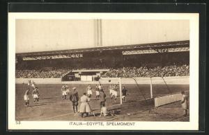 AK Amsterdam, Olympiade 1928, Fussballspiel, Italia-Egypte, Spelmoment