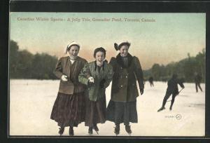 AK Toronto, Grenadier Pond, Canadian Winter Sports, A Jolly Trio, Frauen laufen Schlittschuh