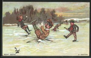 Künstler-AK Schlittschuh, Menschen fallen beim Laufen auf das Eis, Skating