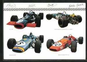 AK Rennautos von B.R.M., Brabham-Repco und Brabham-Cosworth-Ford