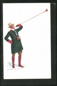 AK London, International Horse Show 1908, Fanfarenbläser