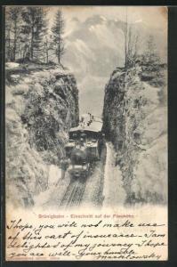 AK Brünigbahn, Einschnitte auf der Passhöhe, Bergbahn