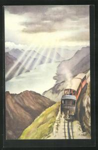 Künstler-AK Brienz-Rothorn-Bahn, Bergbahn