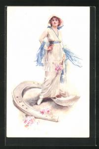 Künstler-AK London, International Horse Show 1914, Olympia, Dame und Hufeisen, Pferdesport