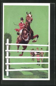 Künstler-AK London, International Horse Show 1908, Olympia, Jockey beim Sprung übers Hindernis