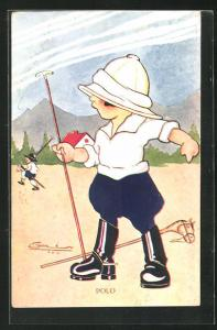 Künstler-AK Kinder mit Steckenpferd beim Polo