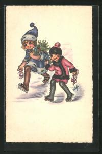 Künstler-AK Kinder laufen Schlittschuh