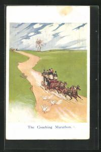 AK London, International Horse Show Olympia 1913, the coaching Marathon, Pferdesport