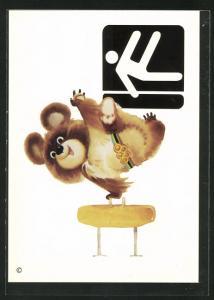 AK Moskau, Olympische Spiele 1980, Maskottchen turnt am Pferd