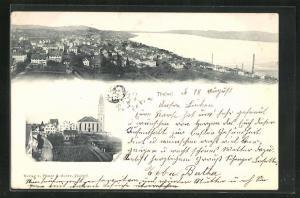 AK Thalwil, Blick auf Kirche, Häuser und Wasser