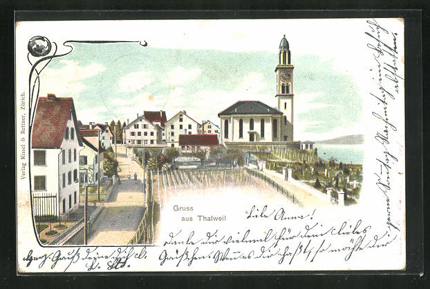 AK Thalwil, Blick auf Kirche mit Friedhof und Häuser 0