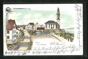 AK Thalwil, Blick auf Kirche mit Friedhof und Häuser