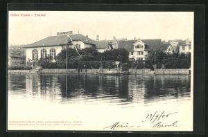 AK Thalwil, Hotel Krone vom Wasser aus gesehen