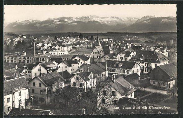 AK Tann-Rüti, Ortsansicht mit Kirche, Häuser, Glarneralpen 0