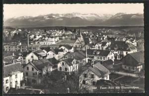AK Tann-Rüti, Ortsansicht mit Kirche, Häuser, Glarneralpen