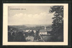 AK Sternenberg, Blick auf Kirche, Häuser und Landschaft