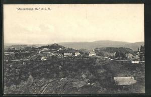 AK Sternenberg, Ortsansicht über Kirche, Häuser und Umgebung aus der Vogelschau
