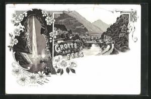 Lithographie Grotte aux Fees, Wasserfall vor Grotte mit Besuchern, Fluss mit Brücke und Bergen, Blumen