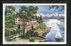 AK Zürich, Casino Zürichhorn, Blick auf See mit Segelbooten, Gebirge und Parkanlage