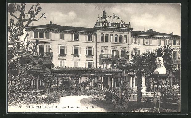 AK Zürich, Hotel Baur au Lac, Gartenpartie 0