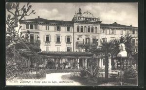 AK Zürich, Hotel Baur au Lac, Gartenpartie