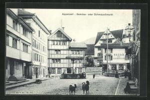 AK Appenzell, Gemüse- oder Schmäuslimarkt mit Brunnen