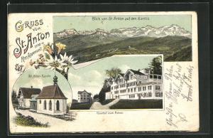 Lithographie St. Anton, Gasthof zum Rössli, St. Anton-Kapelle, Blick auf den Säntis
