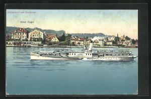 AK Wädenswil am Zürichsee, Dampfer Stadt Zürich, Blick zum Hotel Engel