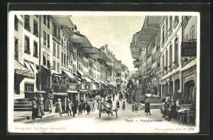 AK Thun, Hauptstrasse, Partie mit Geschäften