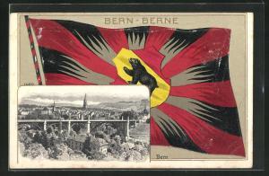 Präge-AK Bern / Berne, Panorama und Flagge mit Wappen