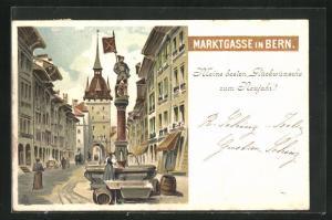 AK Bern, Frau am Brunnen in der Marktgasse